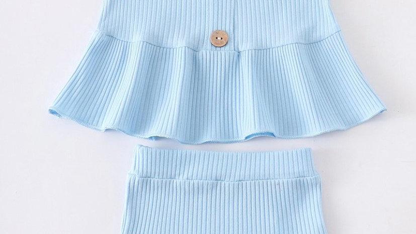 Blue Ruffle Baby Set