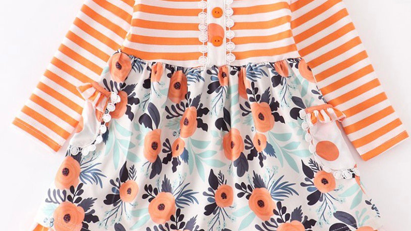 Orange Stripe Mint Floral Ruffle Dress