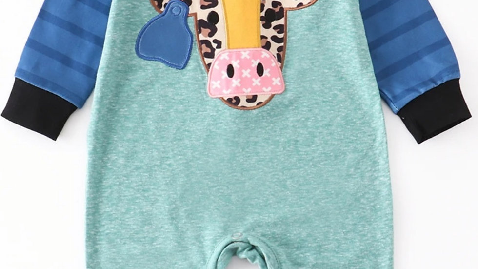 Cow Applique Blue Baby Romper