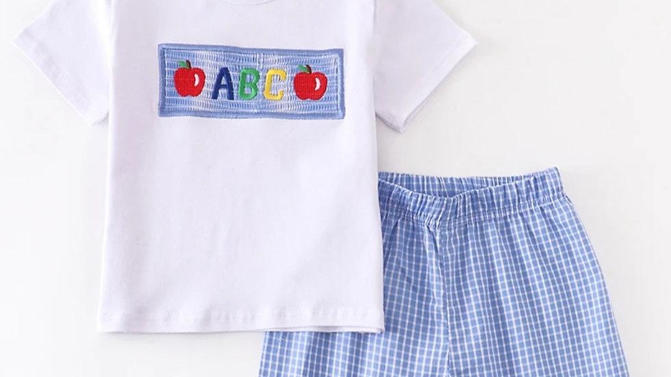 ABC Applique Blue Plaid Short Set