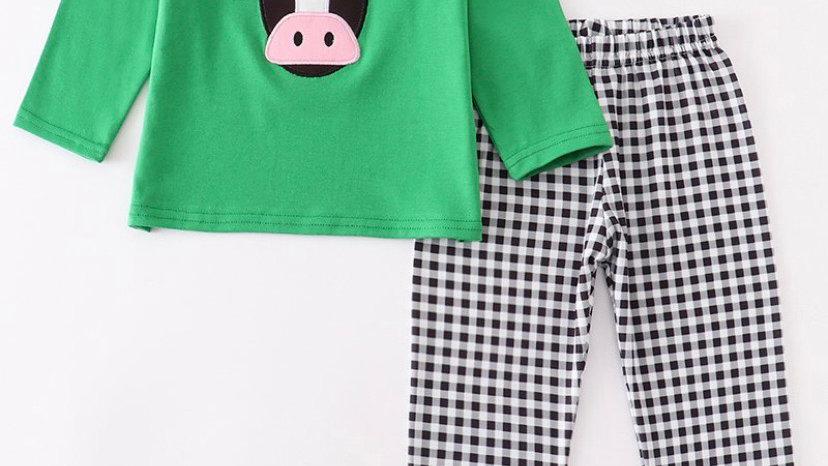 Green Santa Cow Pants Set