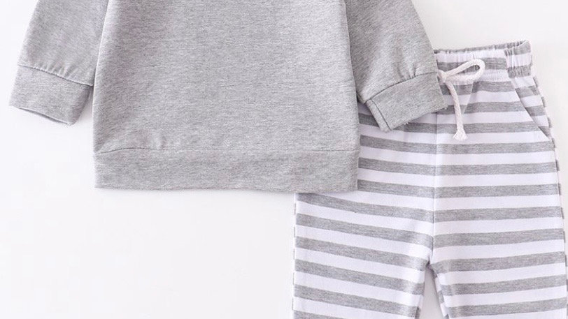 Gray Stripe Pants Set