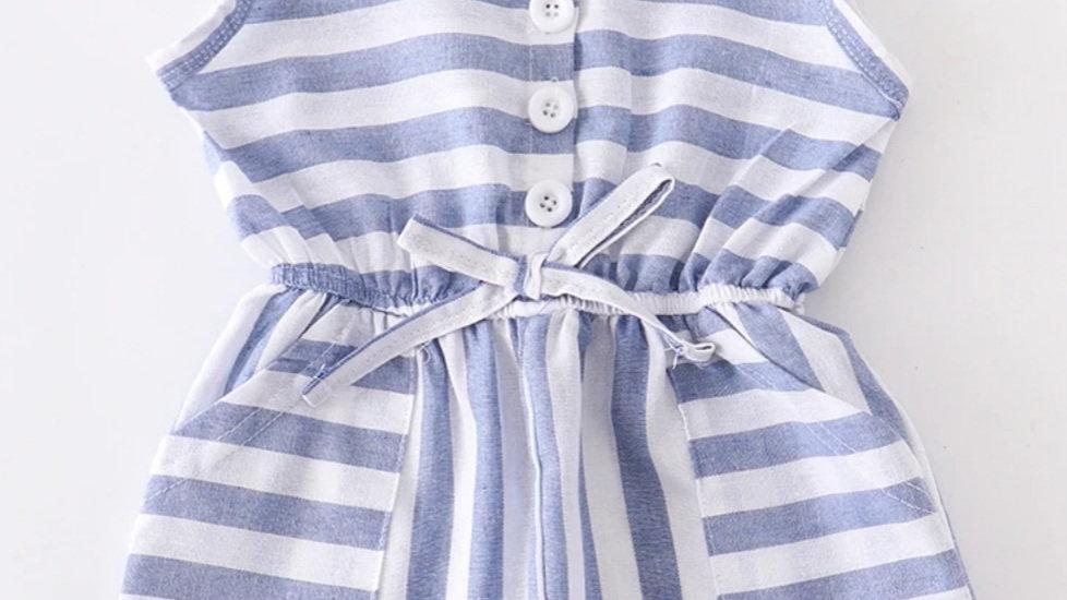 Blue Stripe Jumpsuit Romper