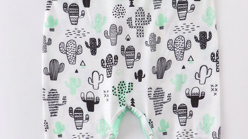 Cactus Green Stripe Romper