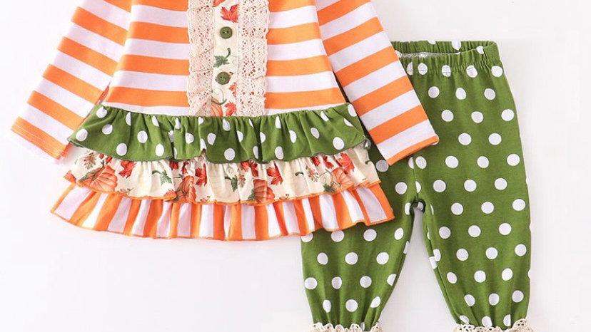 Orange Stripe Lace Pants Set