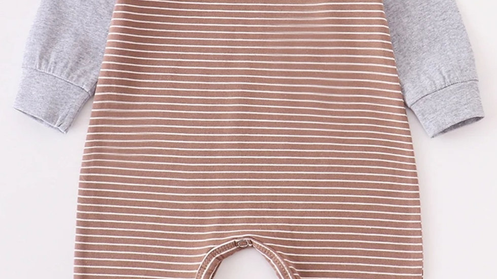 Brown & Grey Stripe Baby Boy Romper