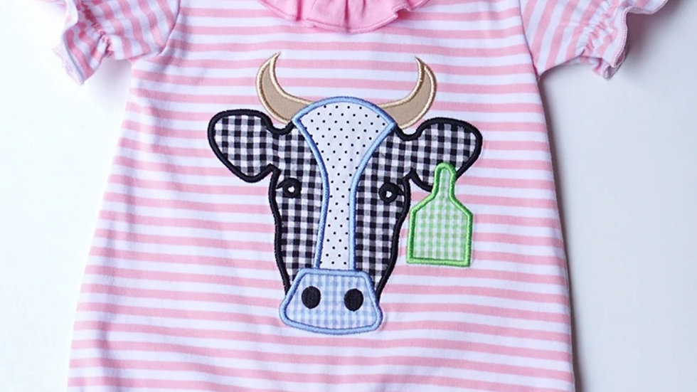 Pink Cow Applique Baby Romper
