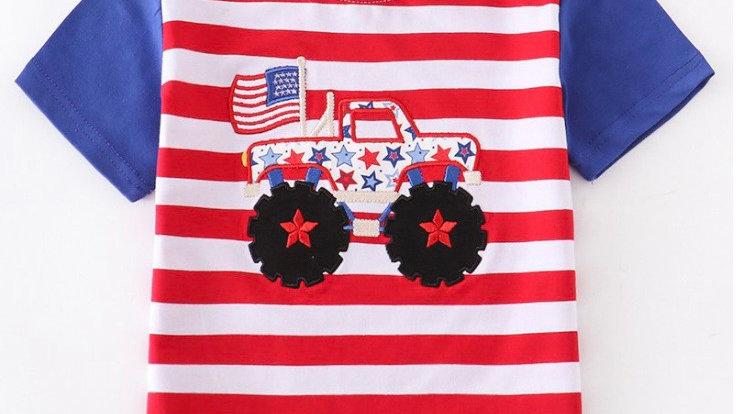 Patriotic Monster Truck Boy Shirt