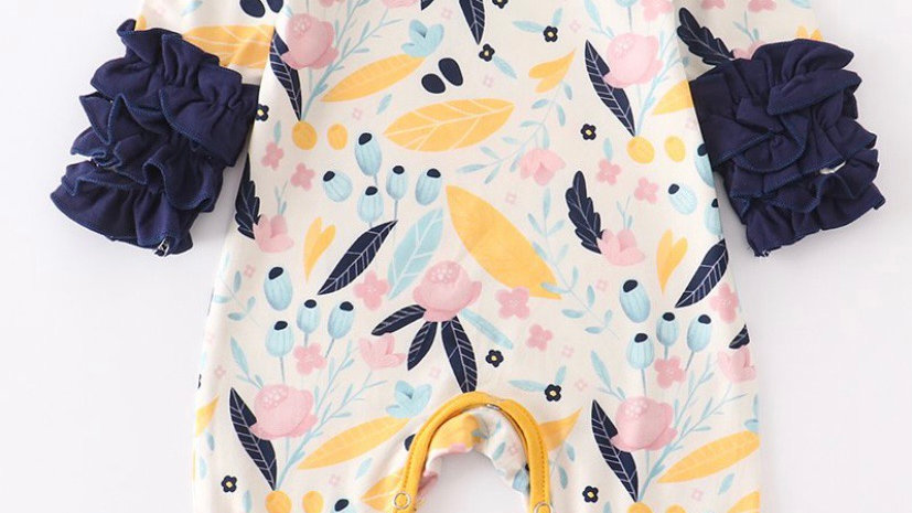 Navy and Mustard Icing Romper