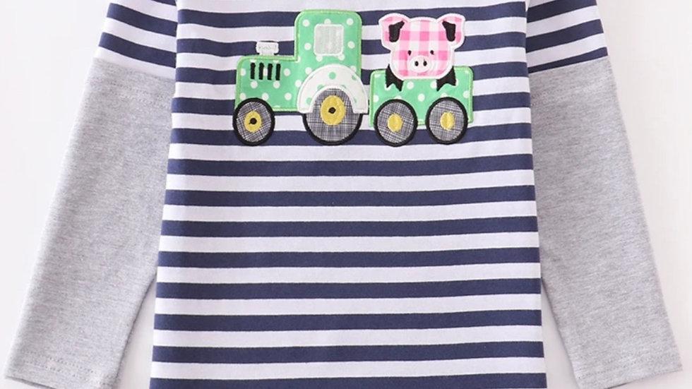 Stripe Tractor Applique Boy Shirt