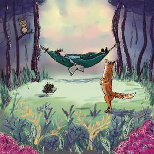 Woodland illustration with fox, hedgehog and owl