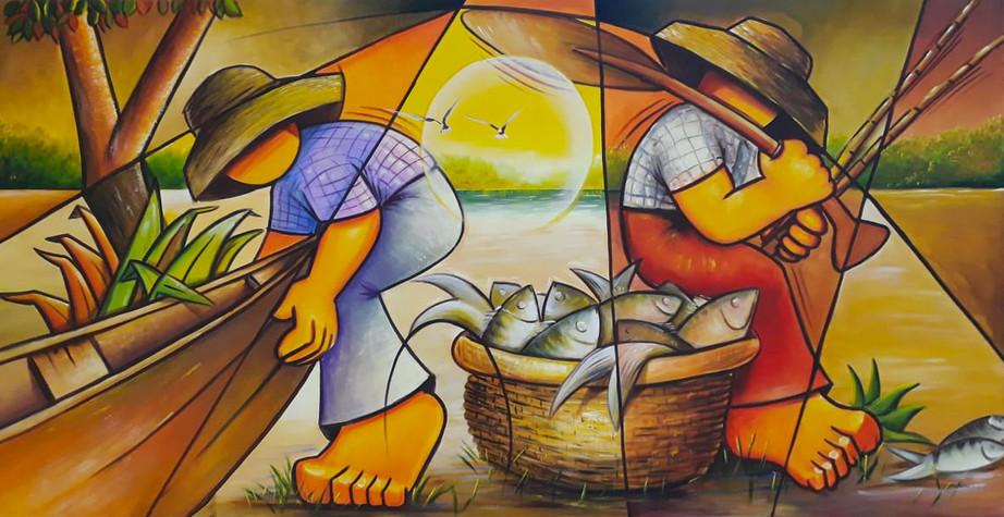 Pescadores no Rio Araguaia 160 x 84 cm