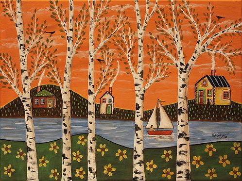 Lake Birches & Orange Sky