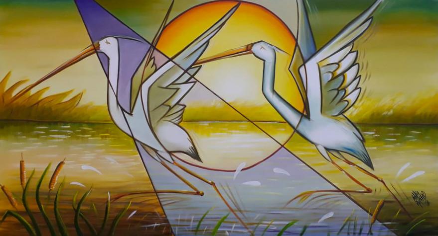 Garças do Rio 130 x 70 cm