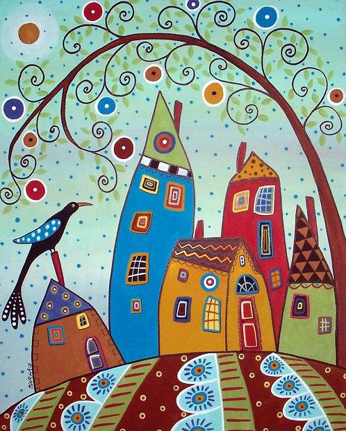 Swirl Tree Bird and Houses