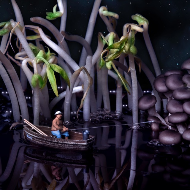 Night fishing in the swamp of black beans90x90cm