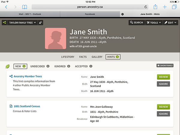 Ancestry.com individual hints