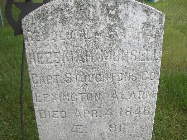Hezekiah Munsell Revolutionary War solider grave stone