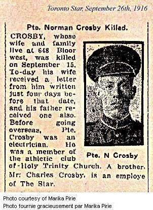 Norman Crosby death notice, Toronto Star 1916