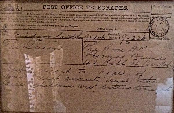 Telegram from Queen Victoria