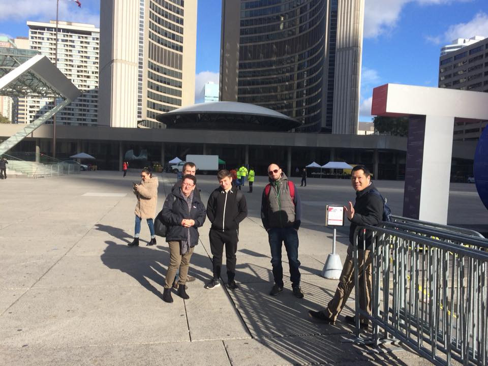 Toronto City Hall October 2017, Jeanette, Rob, Peter, David, Greg and an unknown photo bomber!