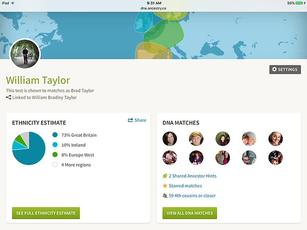 William B. Taylor DNA test results Family Tree DNA
