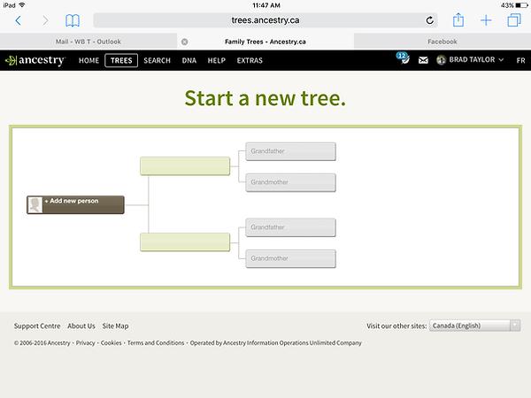 Ancestry.com family tree tool