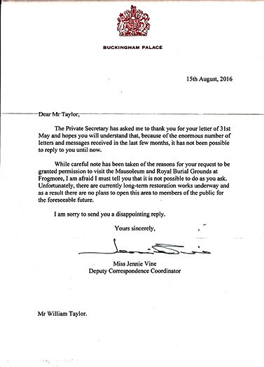 Letter from Buckingham Palace