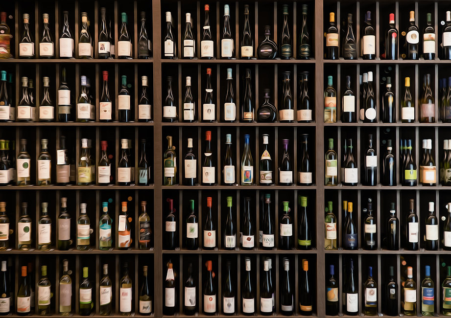 Collection of wines in the store of elit