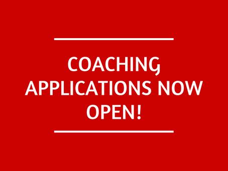 Coaching applications now open!