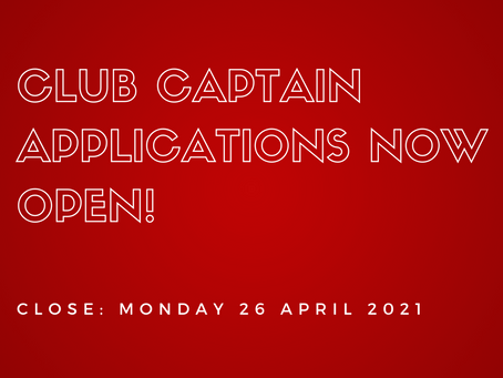 Applications are now open for our 2021 Club Captains!