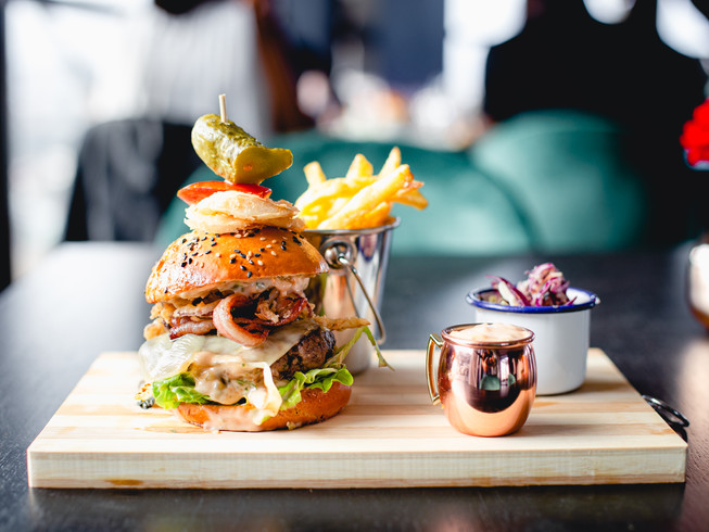 Beef and Bacon Burger at Fifteen Rooftop