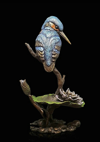 """Kingfisher with Lily"" Bronze sculpture by Keith Sherwin"