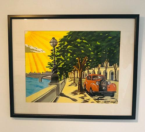 """Art Deco Chelsea Embankment"" original painting by Emma Childs"