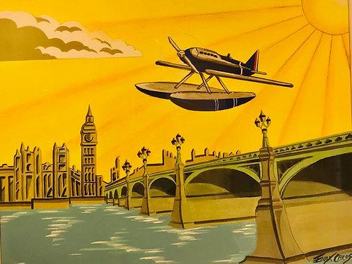 """""""Art Deco Schneider Trophy"""" original painting by Emma Childs"""