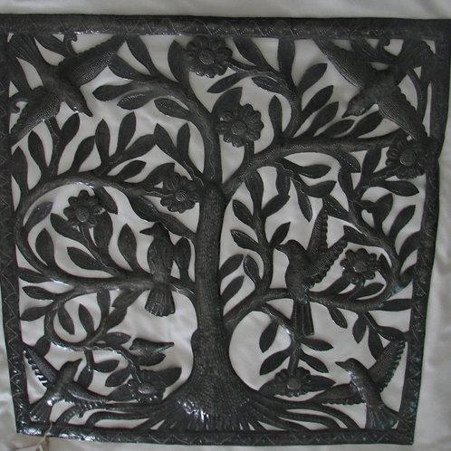 Unpainted  Rectangular Tree-of-Life Wall Hanging