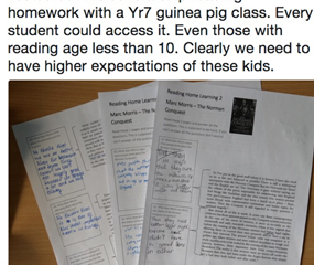 Not being afraid to provide challenging texts in the classroom