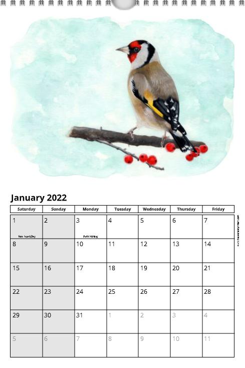 pre-order 2022 British Birds Calendar