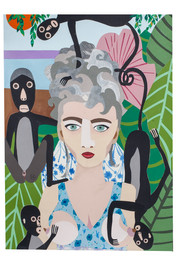 Portrait with monkeys after Frida
