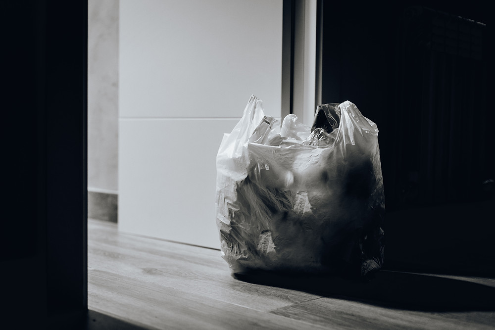 A plastic full of trash