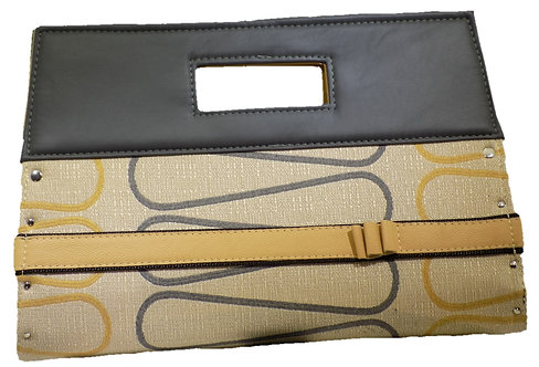 Gray / Yellow Loop Print - Elephant Gray Leather