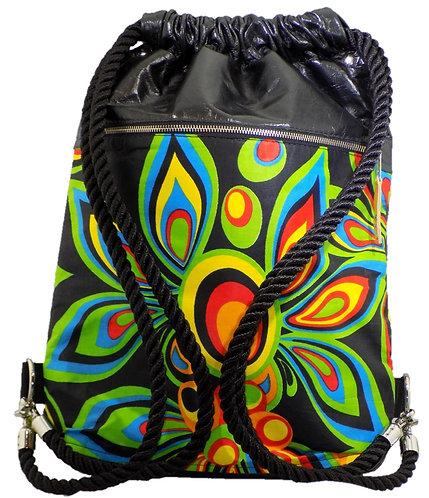 Bright Rainbow Floral Print - Black Leather