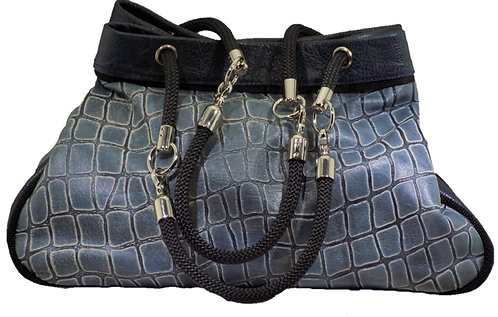 Blue Croc Print Leather - Navy Leather