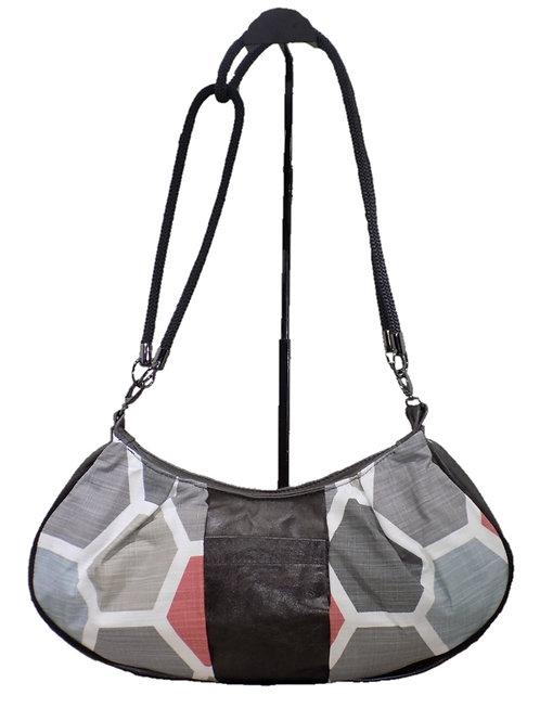 Gray Geometric Print - Steel Gray Leather