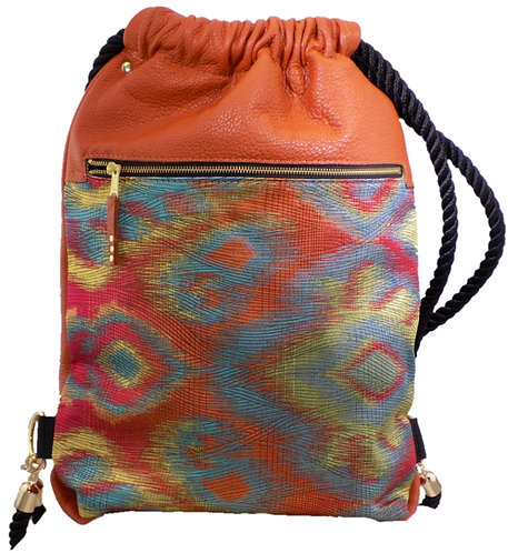 Multi Rainbow Print - Orange Leather