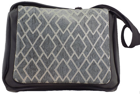 Gray Toned Diamond Print - Black Leather