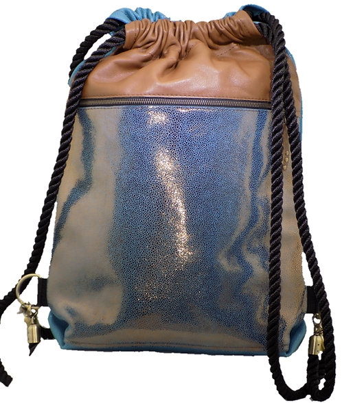 Metallic Bronze Leather - Carmel / Blue Leather