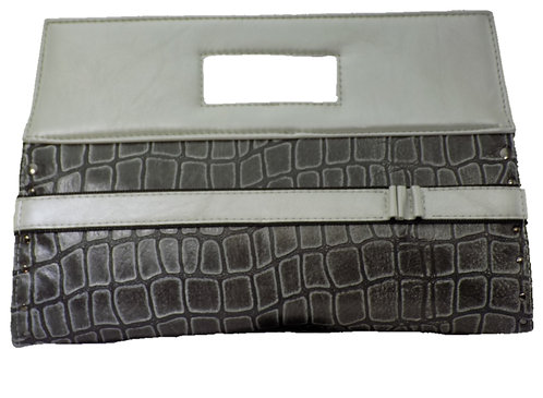 Gray Croc Print Leather - Silver Toned Leather