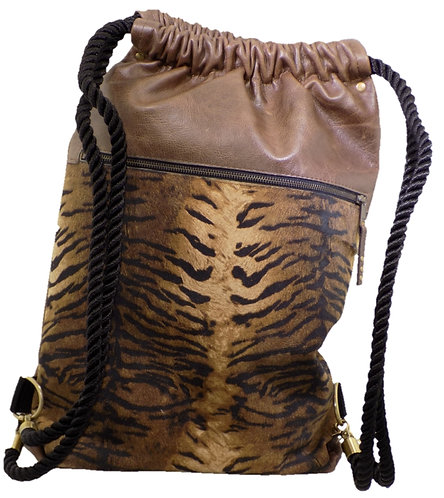 Buffed Tiger Print Leather - Brown Leather