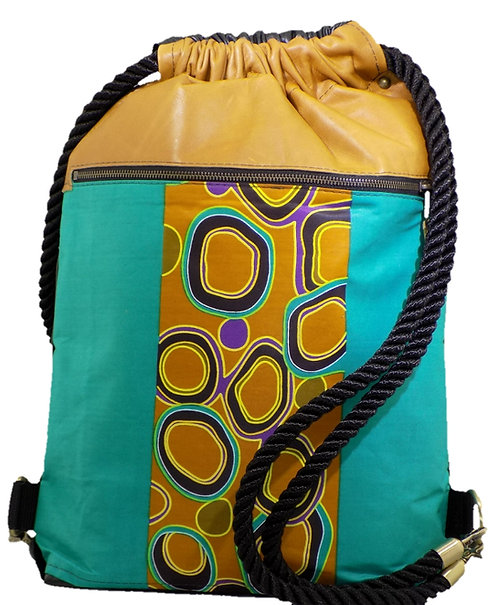 Teal / Yellow African Print - Black Leather